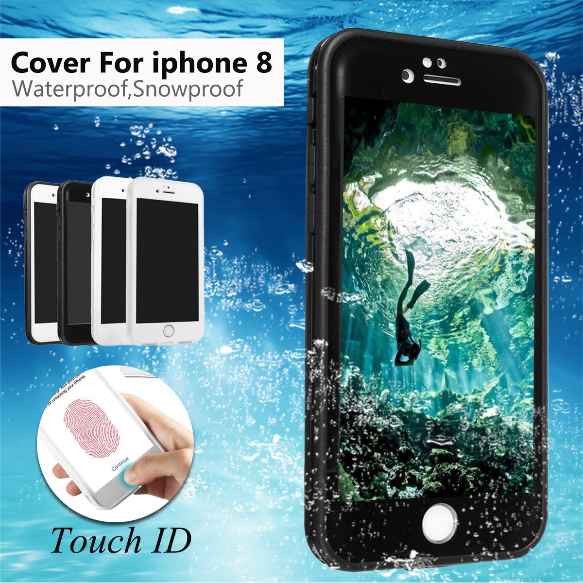 360° Full Protector Waterproof Dust Shockproof Hybrid Case for iPhone 8