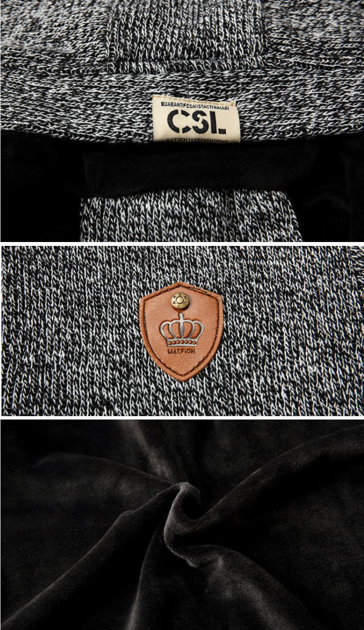 Autumn Winter Men's Cashmere Thermal Hooded Cardigan Casual Button Single-breasted Knitted Sweater