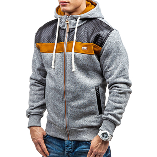 Fashion Mens Cardigan Hoodie Sweaters Casual Splicing Zipper Sport Hoodies