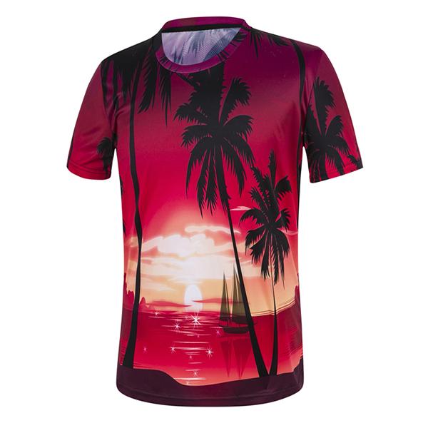 Mens Summer Coconut Beach 3D Painting T-Shirts O-neck Collar Short Sleeve Tees