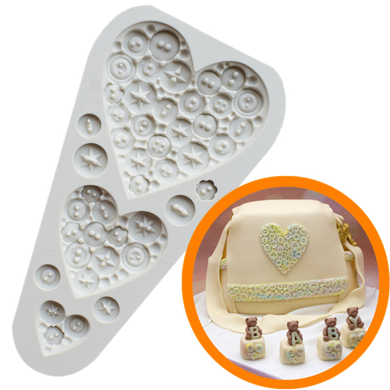 Food Grade Silicone Cake Mold DIY Chocalate Cookies Ice Tray Baking Tool Three Heart Shape