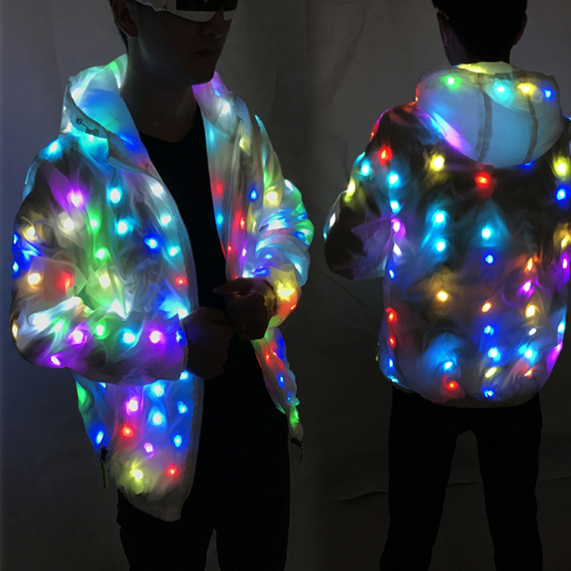 Colorful Leds Halloween Party Light Abrigo Chaqueta Cool Clothing Dance Coat