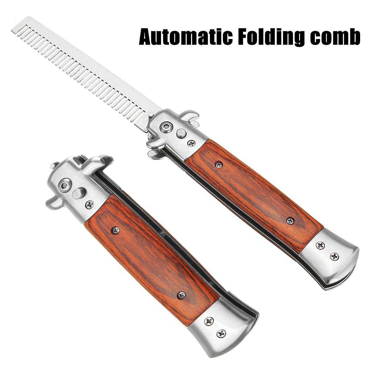 Switchblade Comb Automatic Push Button Folding Comb Switchblade Knife Looking Brush Wood