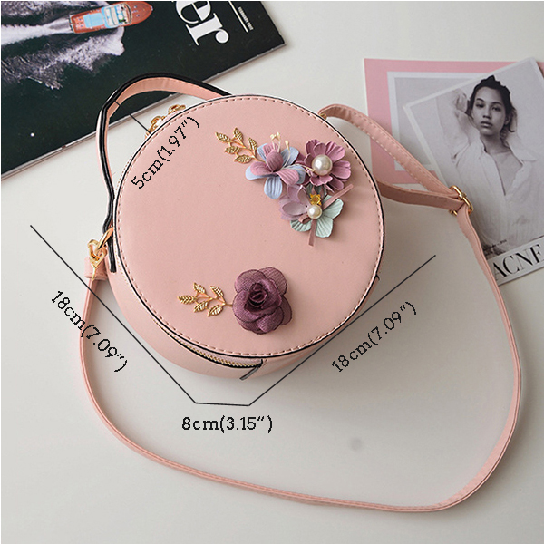 Women Fresh Style Flower Pattern Patchwork Bucket Bag