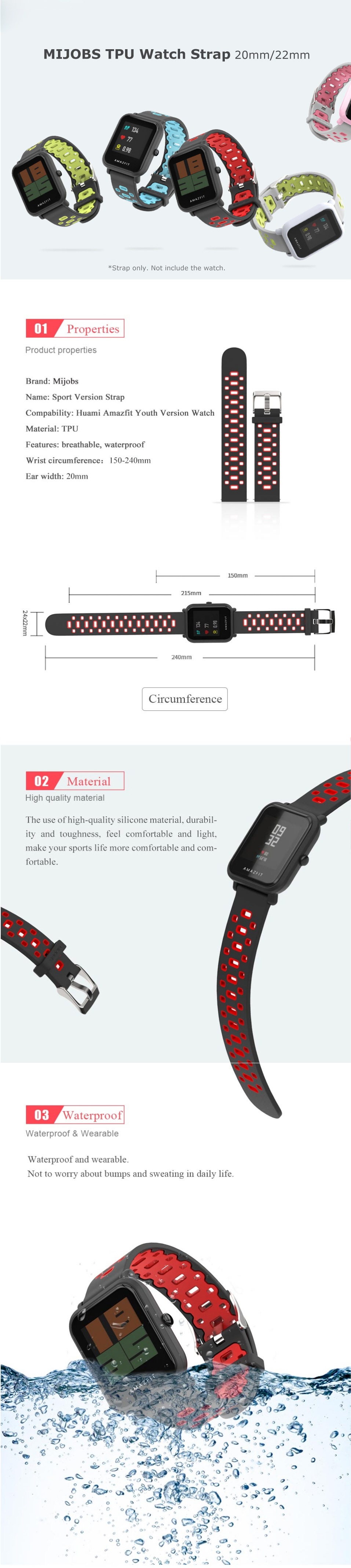 Mijobs 20mm/22mm Sports Silicone Wrist Straps Stratos Smart Watch Band Strap for AMAZFIT