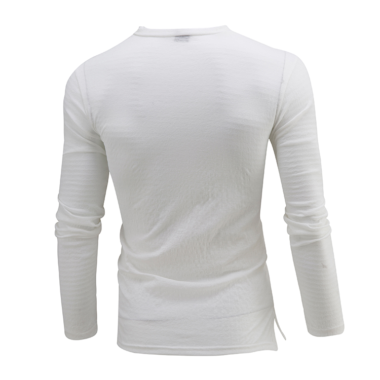 Men's Buttons Half-cardigan Solid Color V-neck T-shirt Casual Thin Breathable Long Sleeve Tops