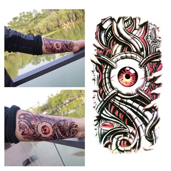 3D Big Mechanical Eye Designed Tattoo Sticker Waterproof Large Decal Paster