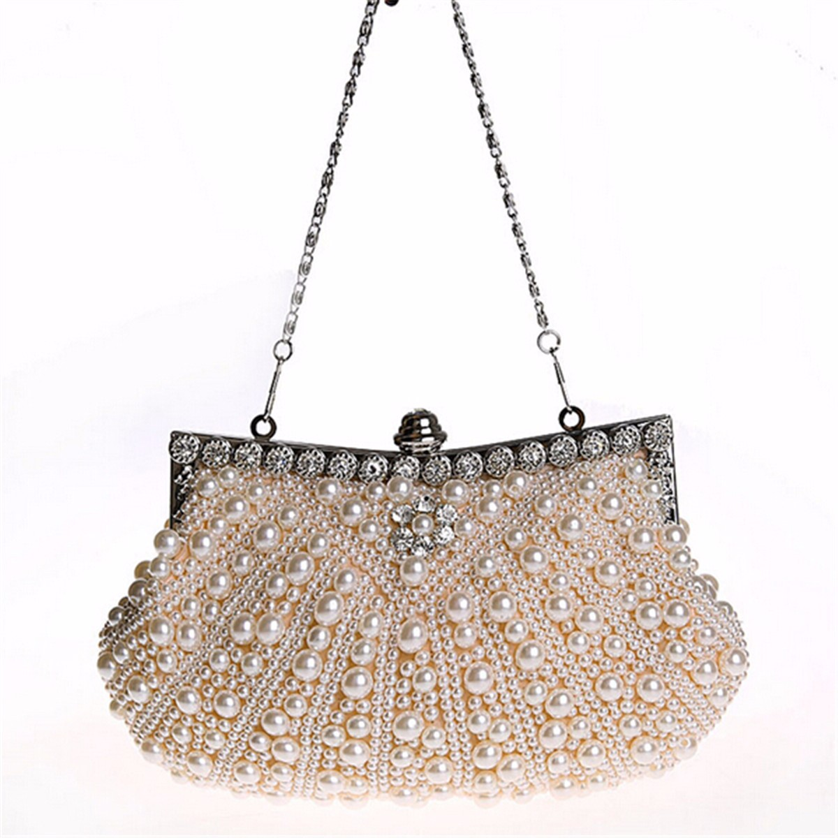 Women Luxury Pearl Handmade Evening Bag Diamond Clutch Bridal Party Handbags