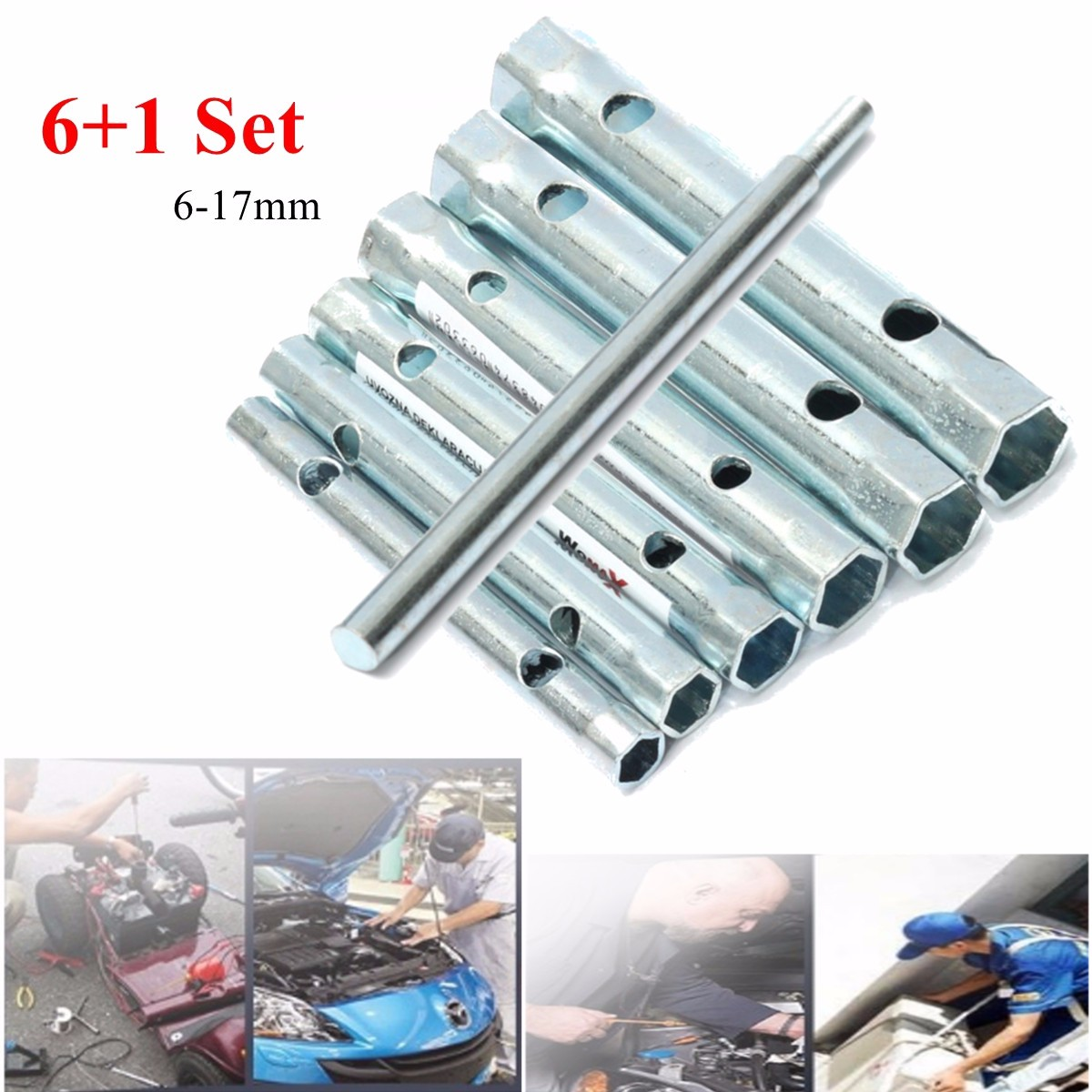 6Pcs Tubular Box Spanner Tube Spanner Wrench Metric Socket Set 6mm-17mm