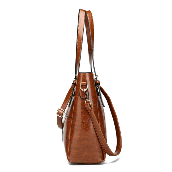 Oil-wax PU Patchwork Handbag High Capacity Shoulder Bags