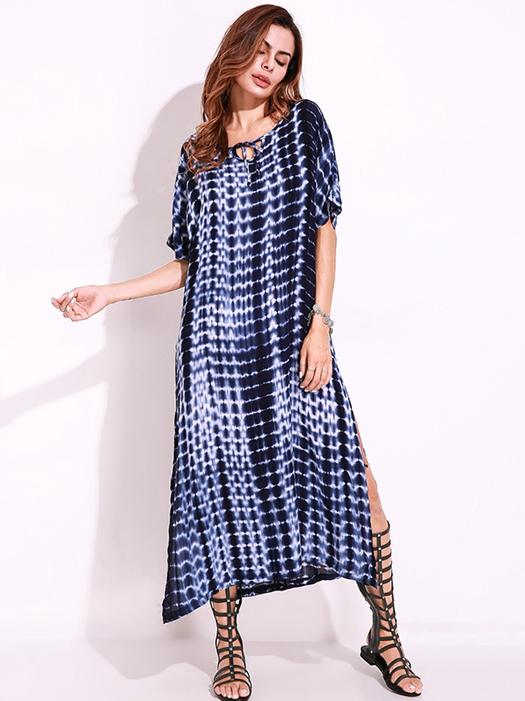 Snake Print Dyeing Split Tie Short Sleeve Maxi Dress