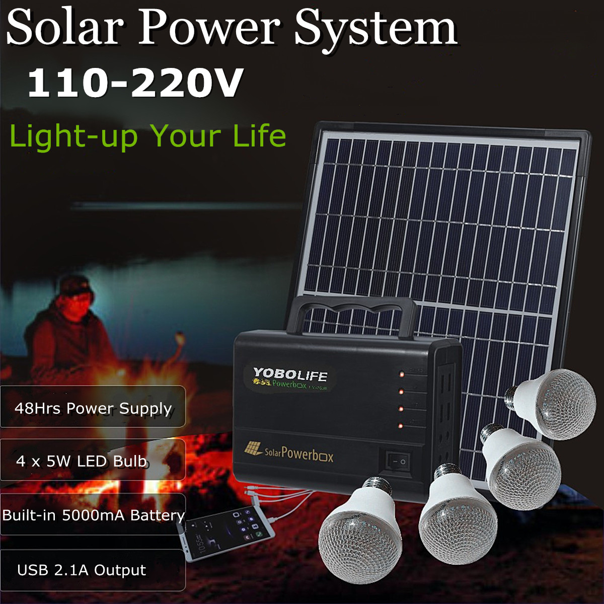 YOBOLIFE 18W Solar Panel Portable Solar Powered System Power Generator with 4 LED Light