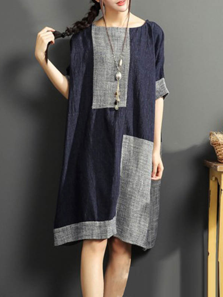 Vintage O-Neck Patchwork Dress