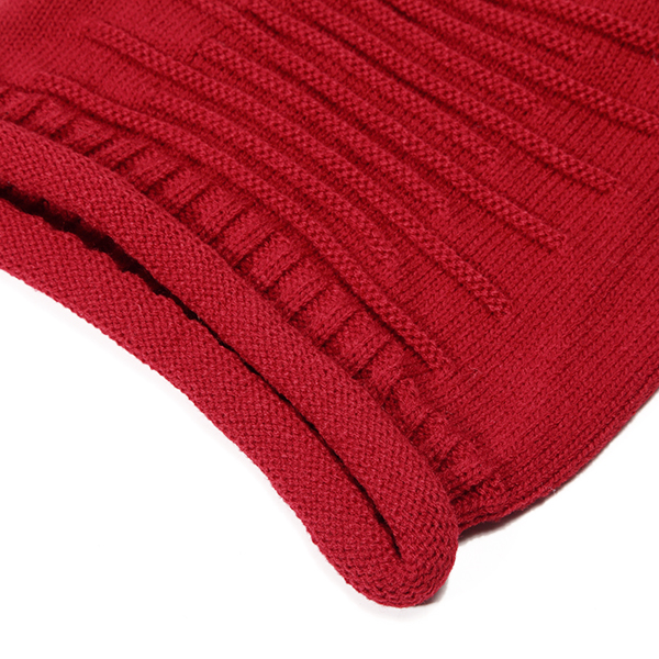 Women Knitted Woolen Stripe Beanie Hat Casual Foldable Cap