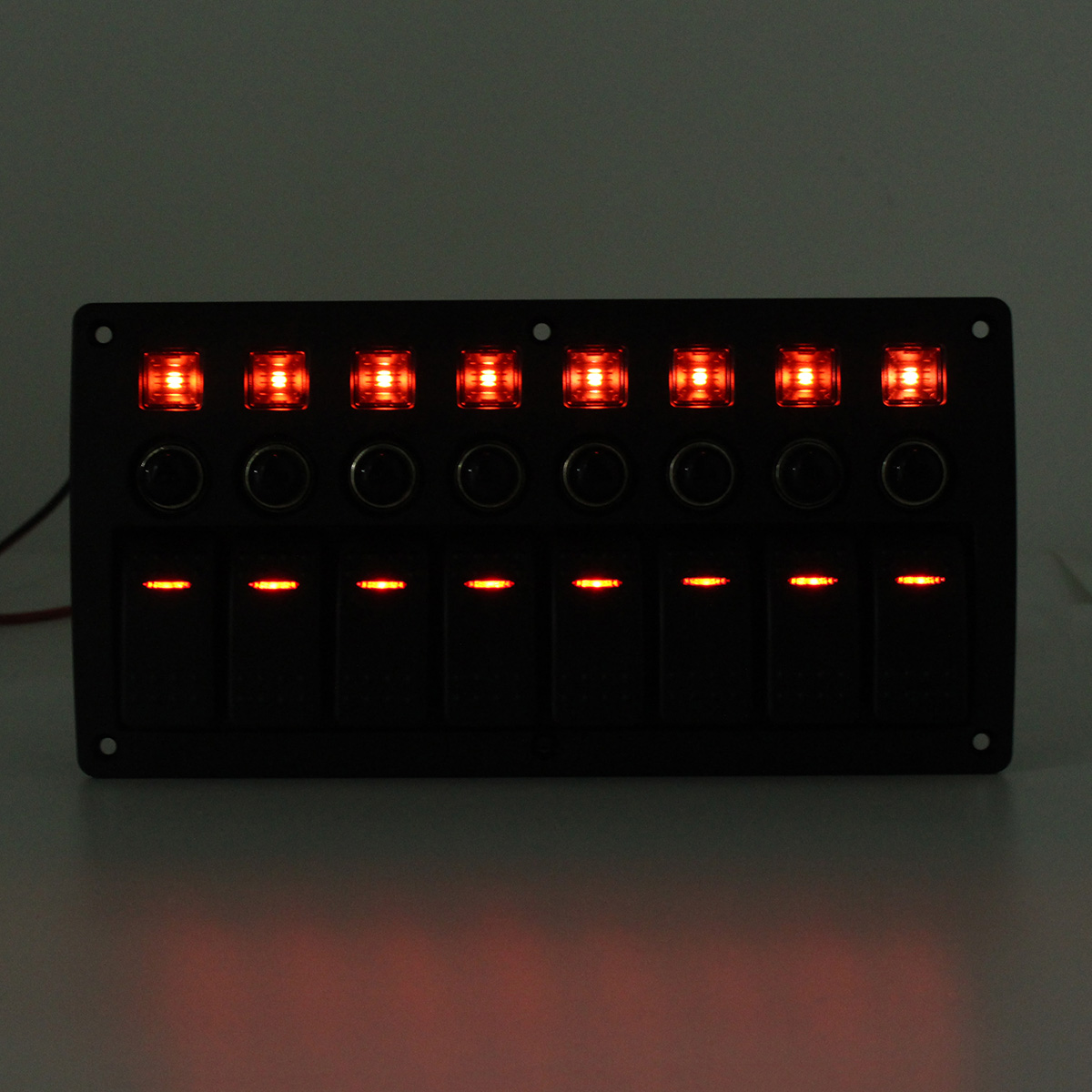8 Gang Red LED Rocker Switch Panel Circuit 12V/24V Car Boat Marine Waterproof