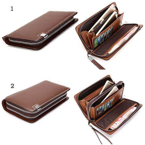 Men Wallet, Business Man-made Leather, Portable Bag Double Zipper Wallet