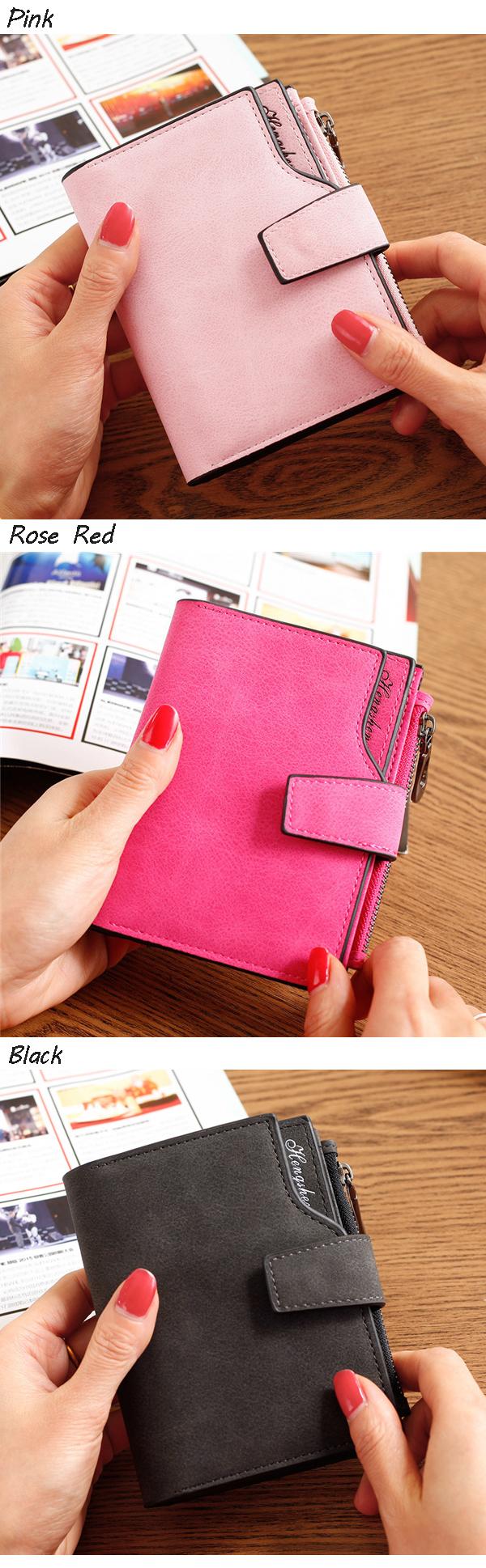 Women Candy Color Hasp Short Wallet Girls 2 Fold Purse