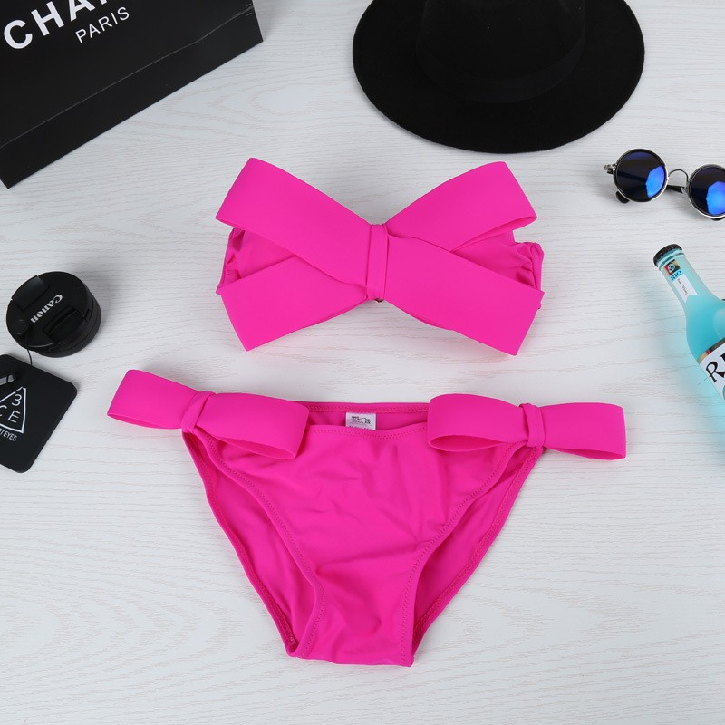 Women Sexy Swim Solid Swimwear Bikini Big Bow Tie Beach Nylon Halter Swimsuit Bathing Suits