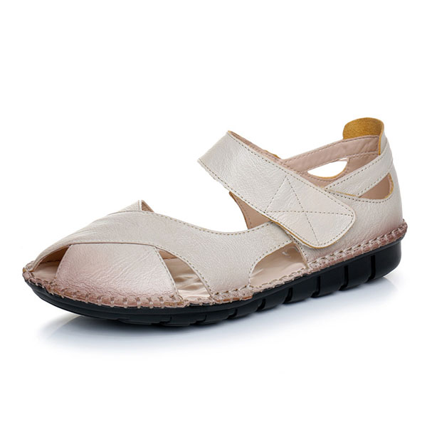 SOCOFY US Size 5-11 Genuine Leather Women Soft Non Slip Flat Sandals