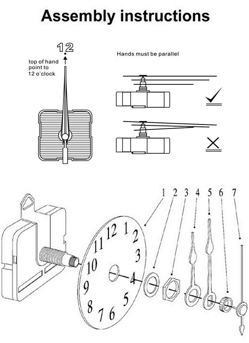 20mm Shaft Length DIY White Hands Silent Quartz Wall Clock Movement Mechanism Repair Parts
