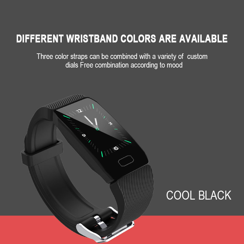 Bakeey Q1 1.14' All-day Heart Rate Blood Oxygen Sports Mode Weather Alarm Multi-language Smart Watch Band