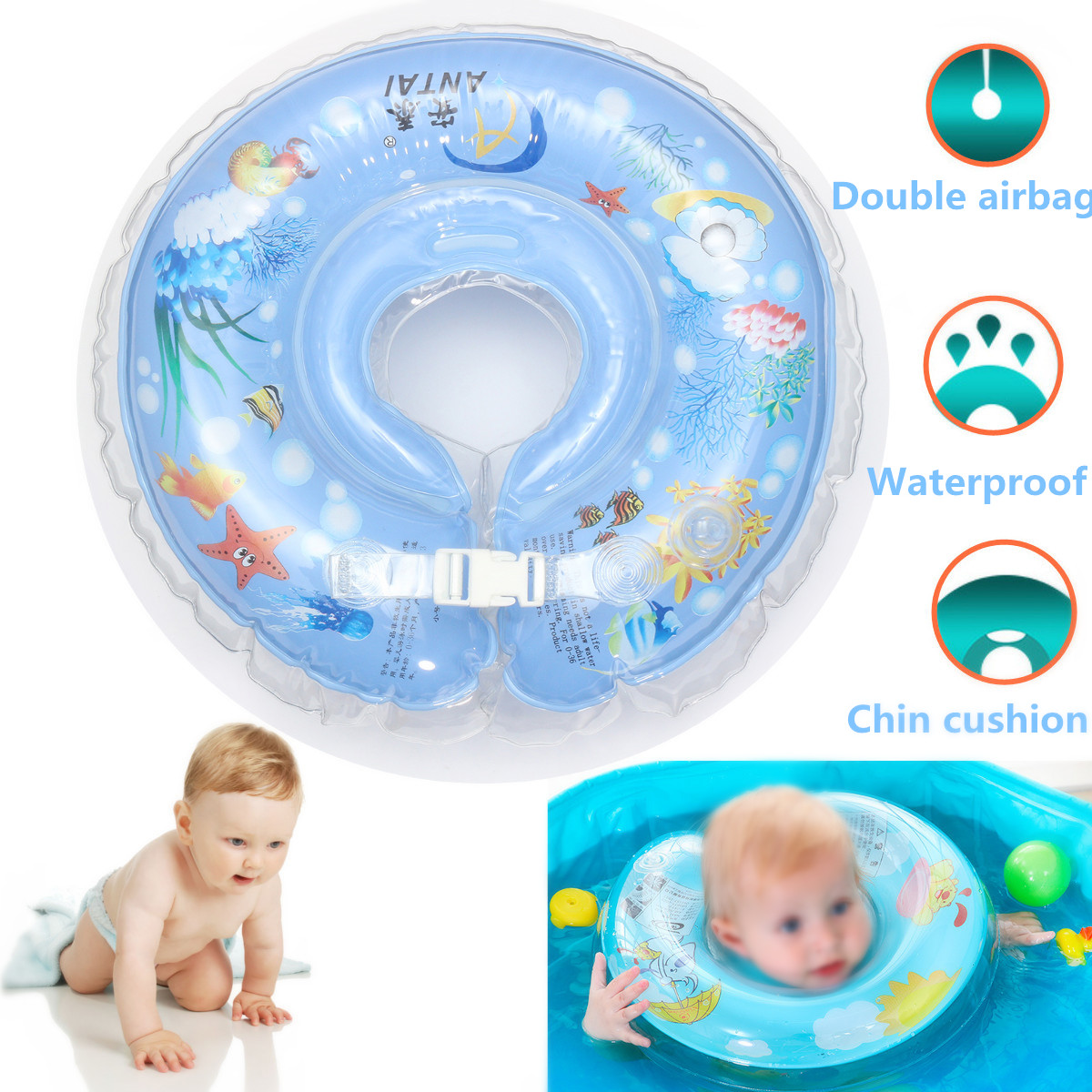 IPRee™ Safety Infant Kid Inflatable Swimming Neck Float Ring PVC Bath Swim Pool Beach