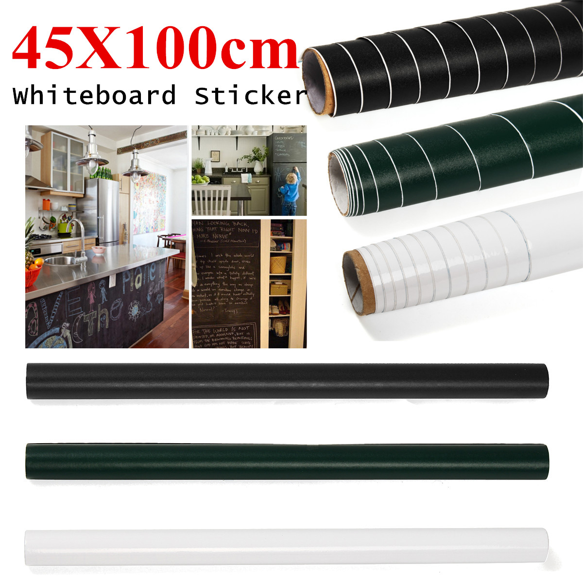 45X100cm Removable WhiteBoard Paper Wall Sticker Dry Board Office Creative Decal