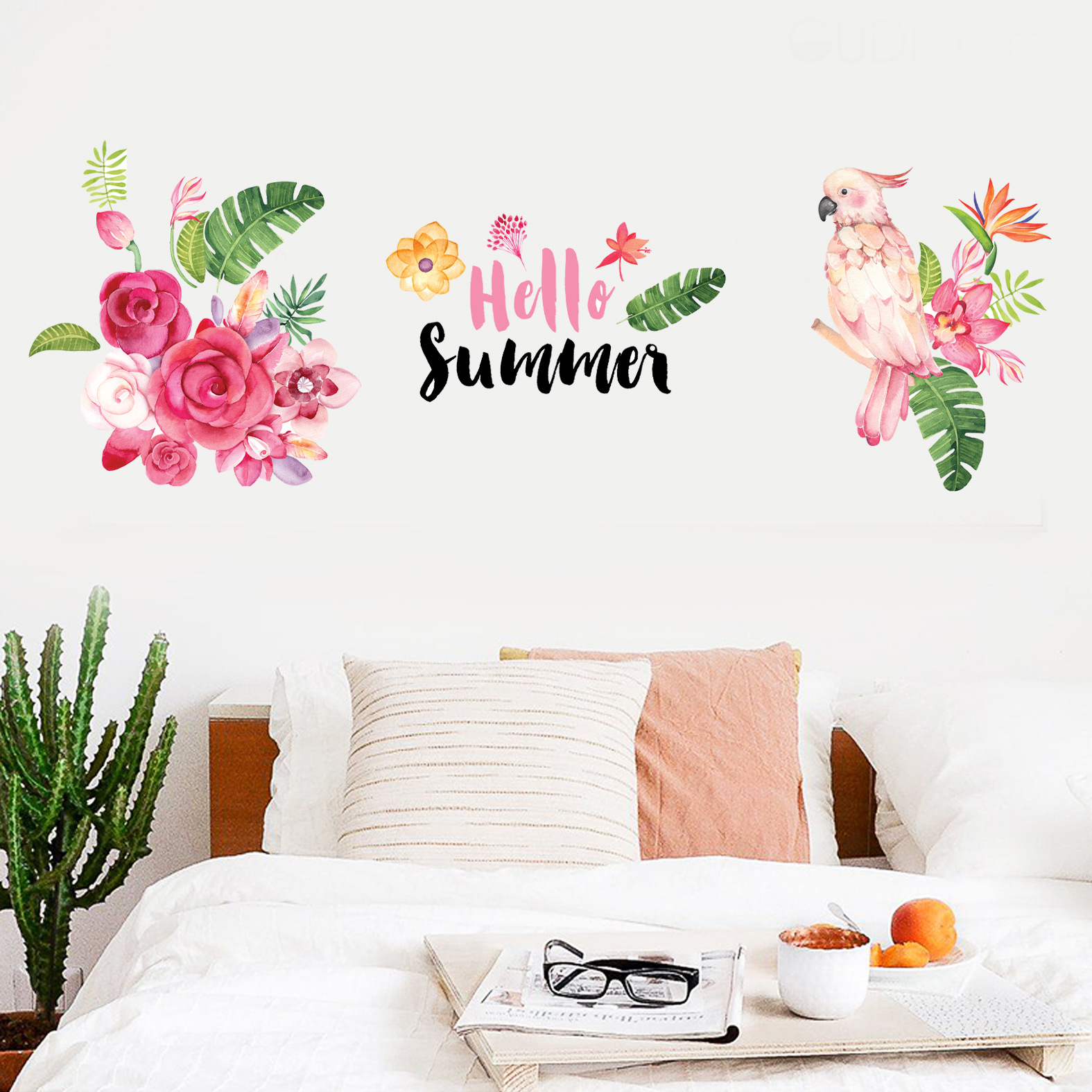 Miico Creative Colorful Summer Parrot Flowers PVC Removable Home Room Decorative Wall Door Decor Sticker
