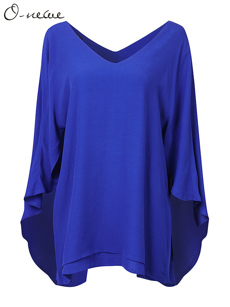 Batwing Sleeve Solid Cape Patchwork T-shirts
