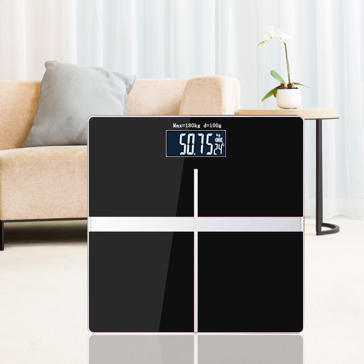 Electronic Weight Scale Square Black Electronic Scale Body Household Weight Scale Convenient Health Scale