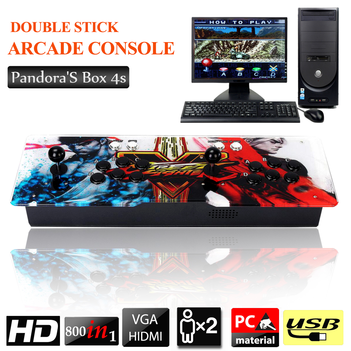 PandoraBox 4s 800 Arcade Video Games Jamma Console 2 Player Joystick Button
