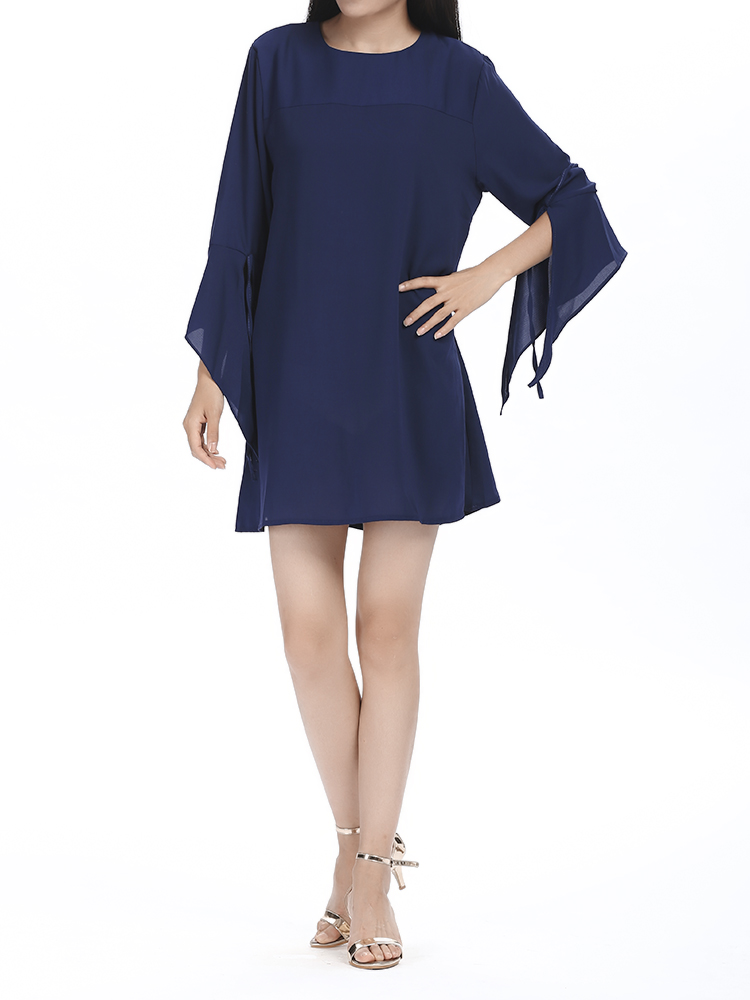 Pure Color O-Neck Horn Sleeve Loose Chiffon A Line Mini Dress For Female