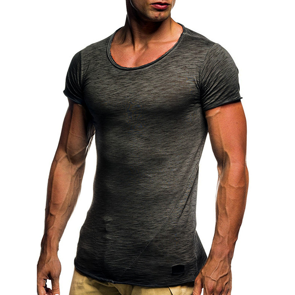 Summer Mens Breathable Solid Color Short Sleeve Tops