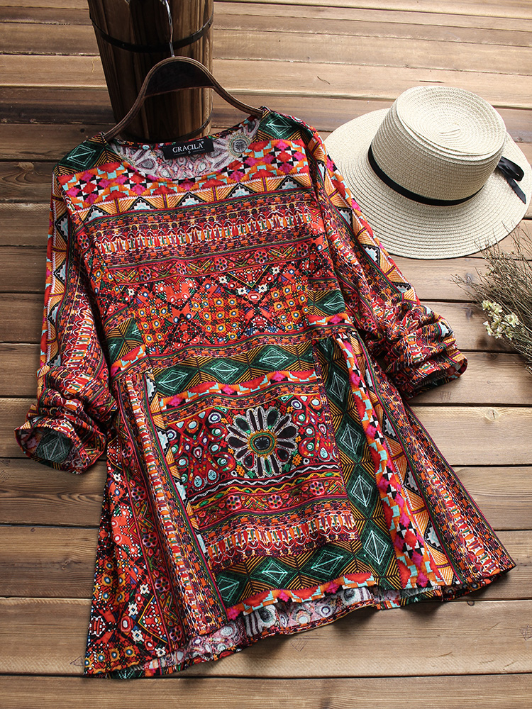 Ethnic Women O-neck Long Sleeve Floral Blouse