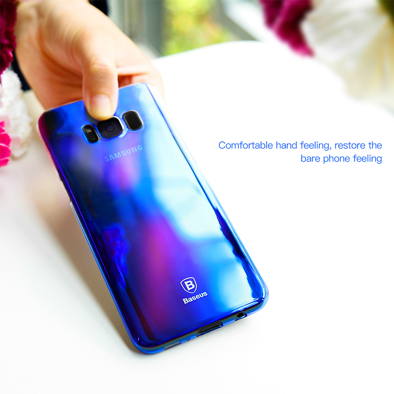 Baseus Glaze Series Color Gradient Hard PC Transparent Full Case Cover for Samsung Galaxy S8