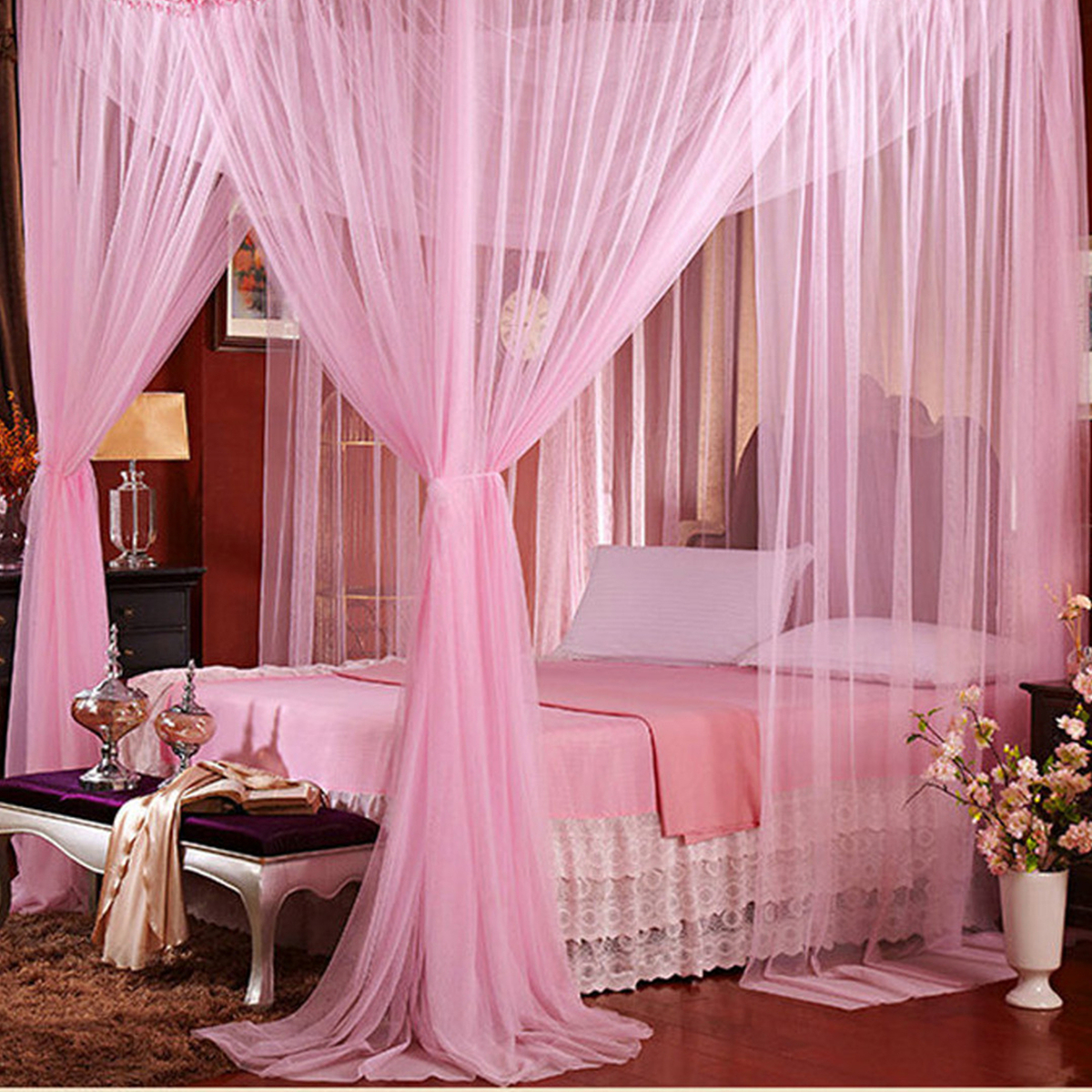 4 Corner Mosquito Net Mesh Canopy Insect Queen King Size Netting Curtain Dome 190X210X240CM