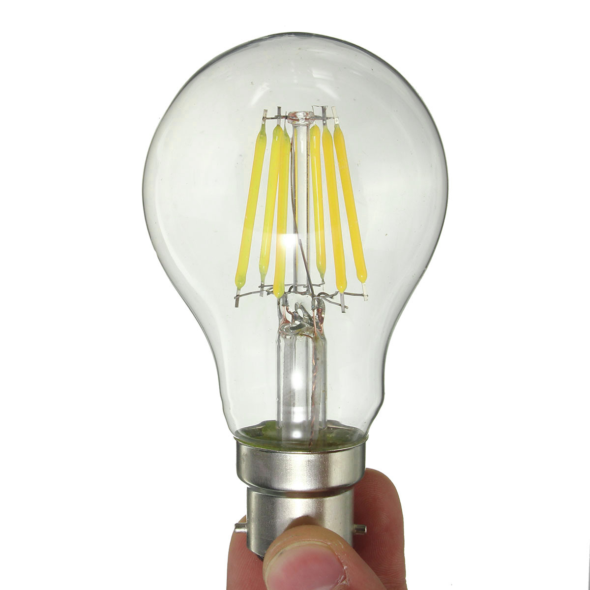 Dimmable B22 A60 6W Pure White Warm White COB Filament Edison Retro Light Lamp Bulb AC220V