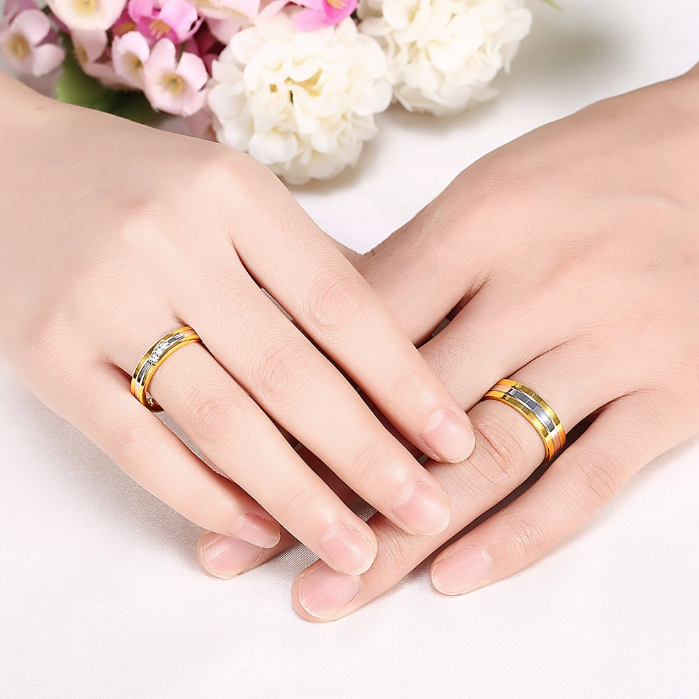 Crystal Stripe Stainless Steel Lover Couple Ring Women Jewelry For Wedding