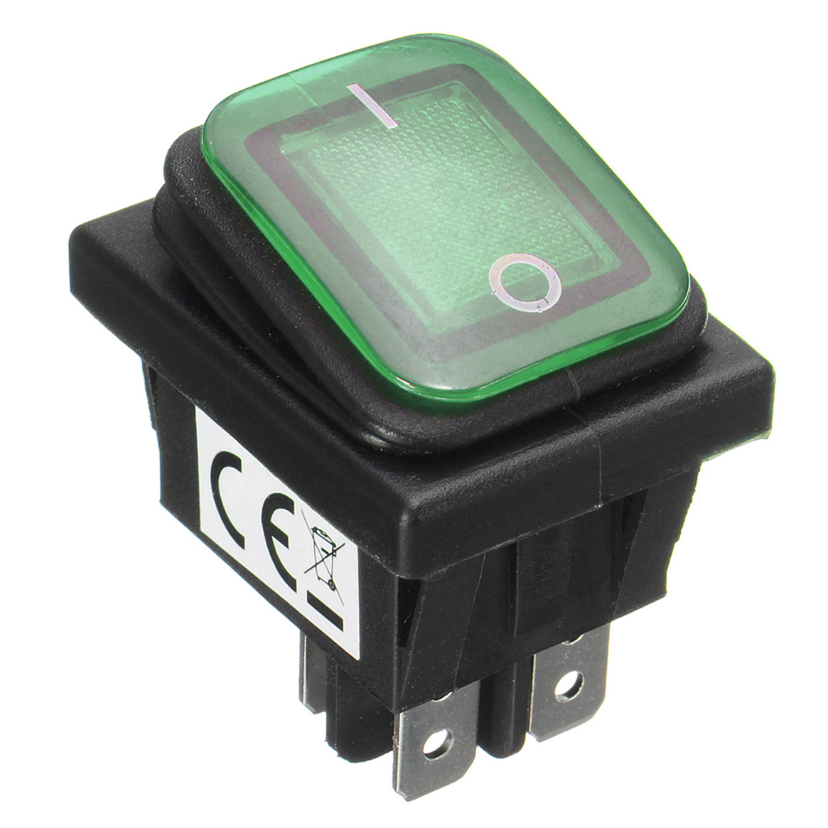 Waterproof 12V 16A Rocker Reset Single Toggle Switch With LED Light Dpst For Car Boat