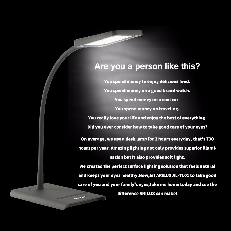 ARILUX® HL-TL 01 10W Dimmable Touch Controlled Eye Care LED Table Desk Lamp AC100-240V