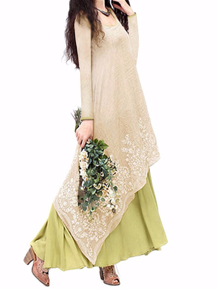 Elegant Women Embroidery Layered Irregular Hem Vintage Maxi Dress