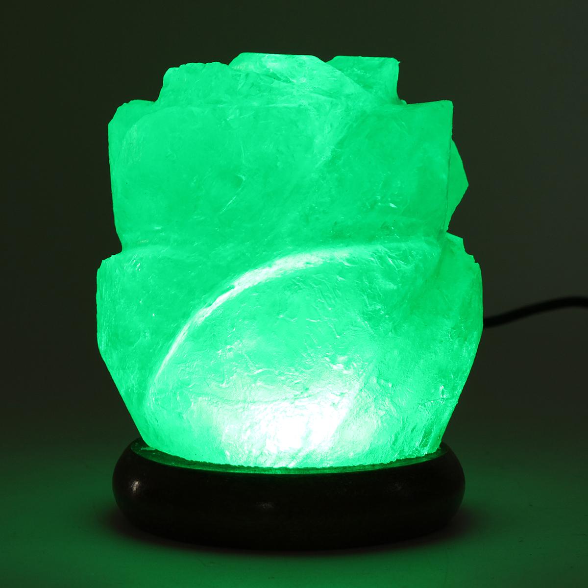 Himalayan Natural Crystal Rose Salt Lamps Bulb Night Light Ionic Purifier Gifts