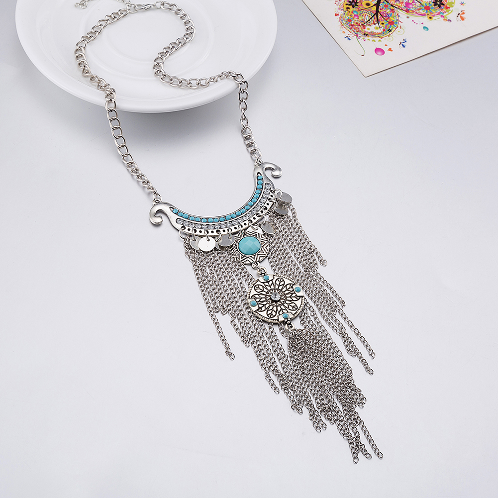 Bohemian Statement Necklace Tassel Chains Turquoise Accessories Stylish Women Jewelry