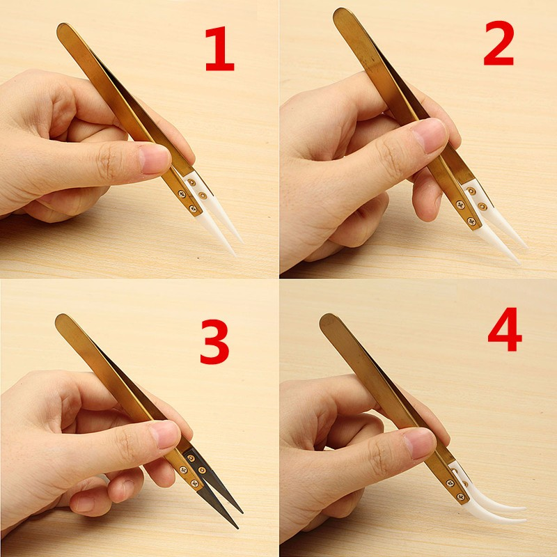 1pcs Golden Heat Resistant Stainless Steel Ceramic Tweezers Anti-static Pointed Tip