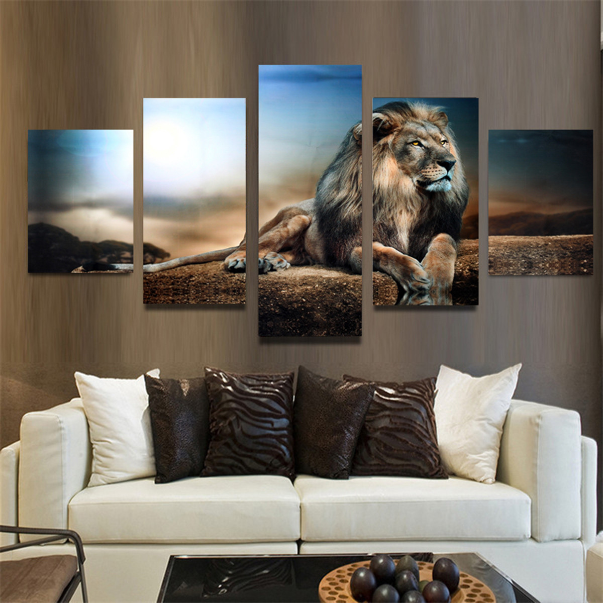 5PCS Frameless Canvas Print Sitting Lion Wall Art Painting Picture Home Decoration Paper Art