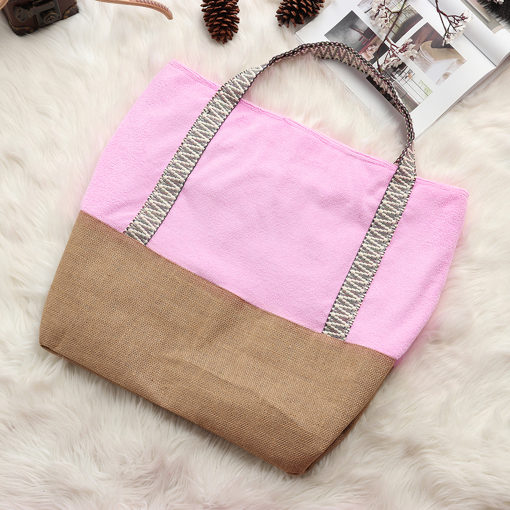 Women Towel fabric Burlap Large Capacity Tote Handbag