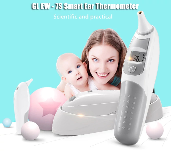 GL EW - 7S LCD Infant Baby Electronic Infrared Ear Thermometer Smart Fast Accurate Measure Thermometers