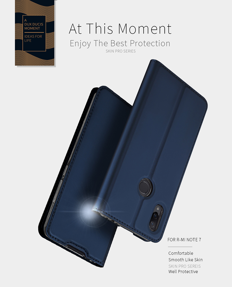 DUX DUCIS Flip Shockproof PU Leather Card Slot Full Body Cover Protective Case for Xiaomi Redmi Note 7 / Note 7 Pro