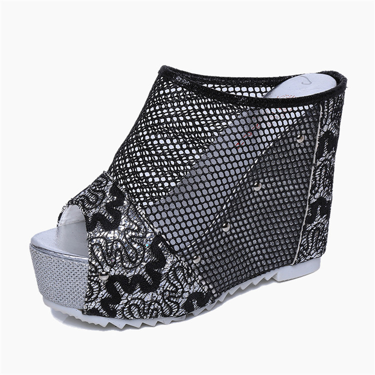 Mesh High Wedge Heels Slip On Peep Toe Sandals
