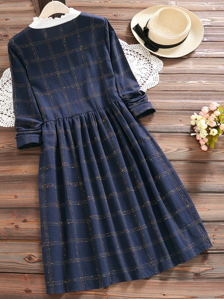 Vintage Women Plaid Long Sleeve Dress